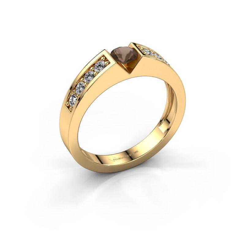 Engagement ring Lizzy 2 585 gold smokey quartz 4.2 mm