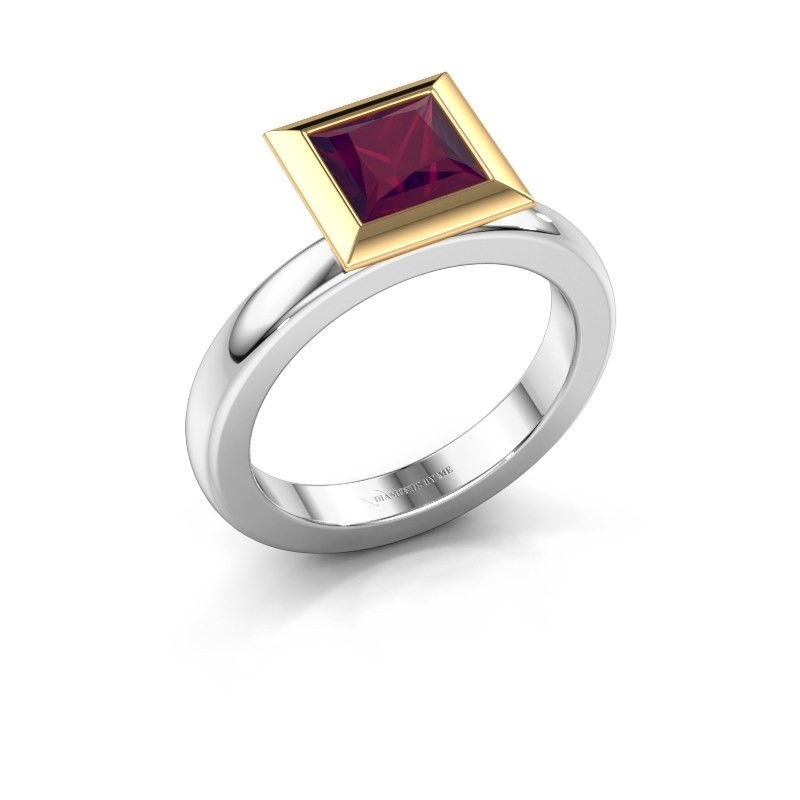 Stapelring Trudy Square 585 witgoud rhodoliet 6 mm