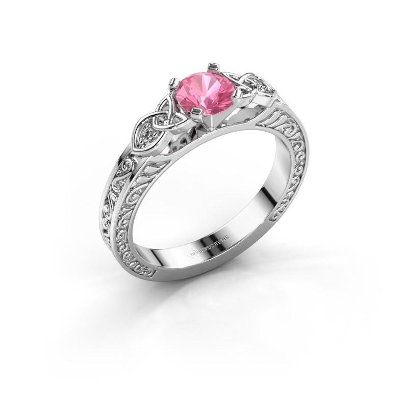 Verlovingsring Gillian 585 witgoud roze saffier 5 mm