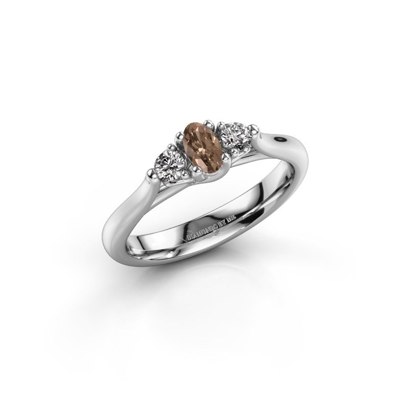 Verlovingsring Jente OVL 585 witgoud bruine diamant 0.39 crt