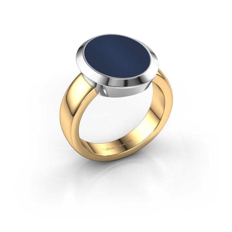 Zegelring Oscar 4 585 goud donker blauw lagensteen 15x12 mm
