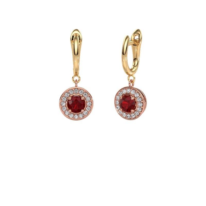 Oorhangers Ninette 1 585 rosé goud robijn 5 mm