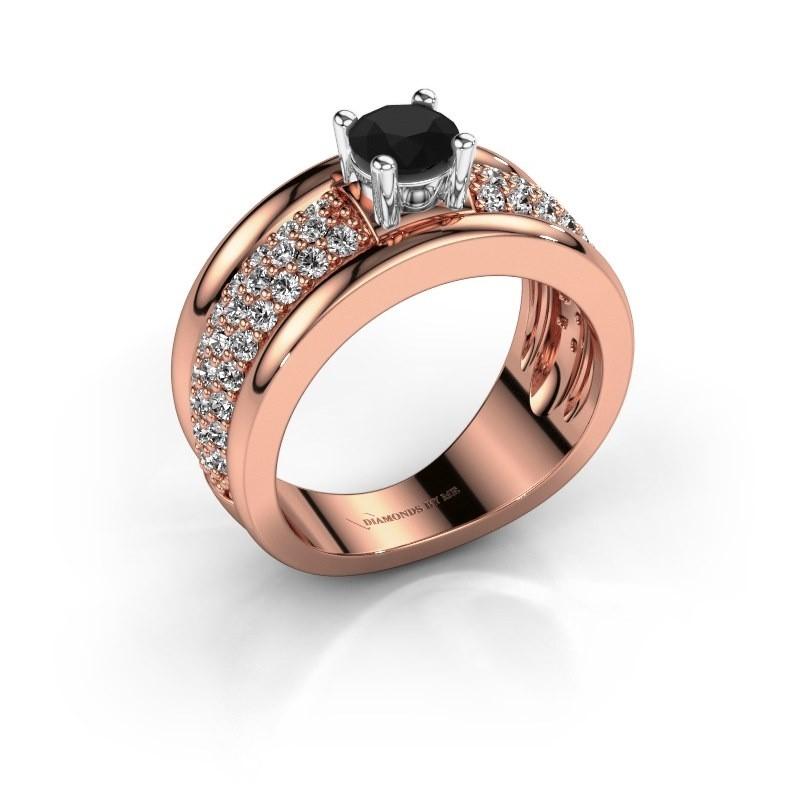 Ring Alicia 585 rosé goud zwarte diamant 1.41 crt