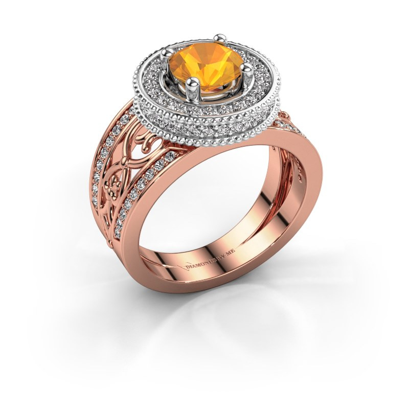 Ring Joy 585 rosé goud citrien 6.5 mm