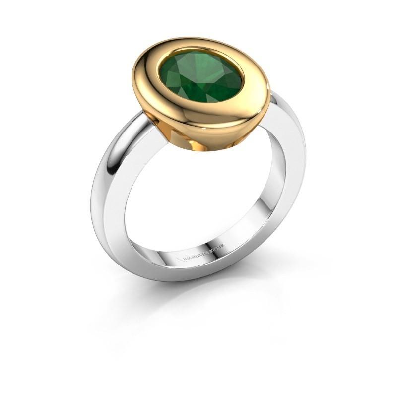 Ring Selene 1 585 witgoud smaragd 9x7 mm