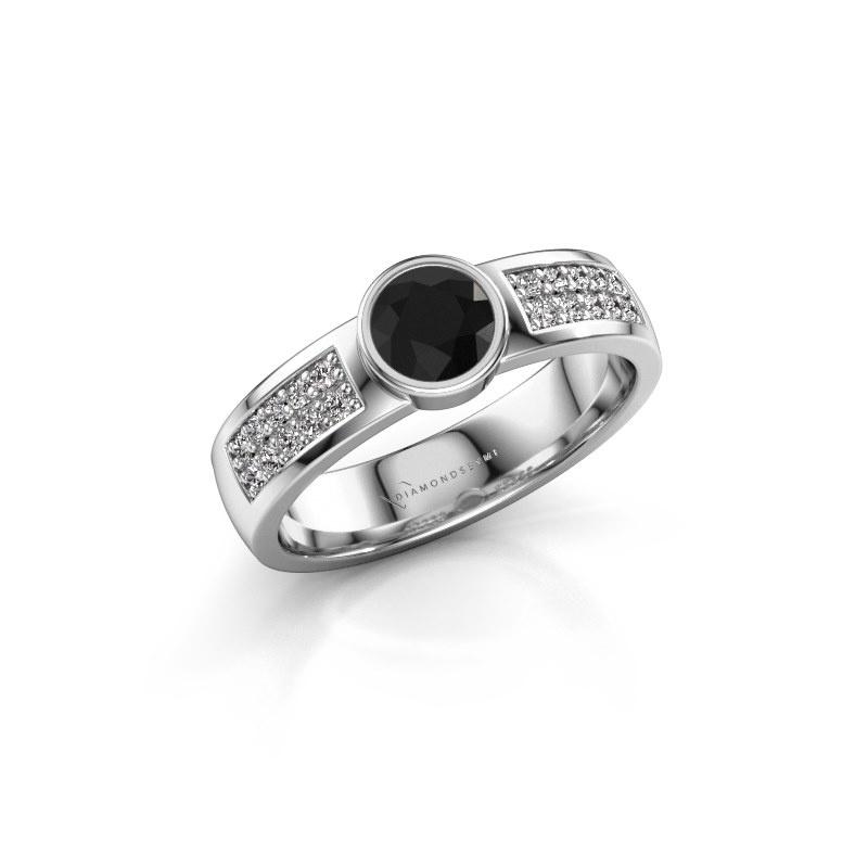 Engagement ring Ise 3 585 white gold black diamond 0.63 crt