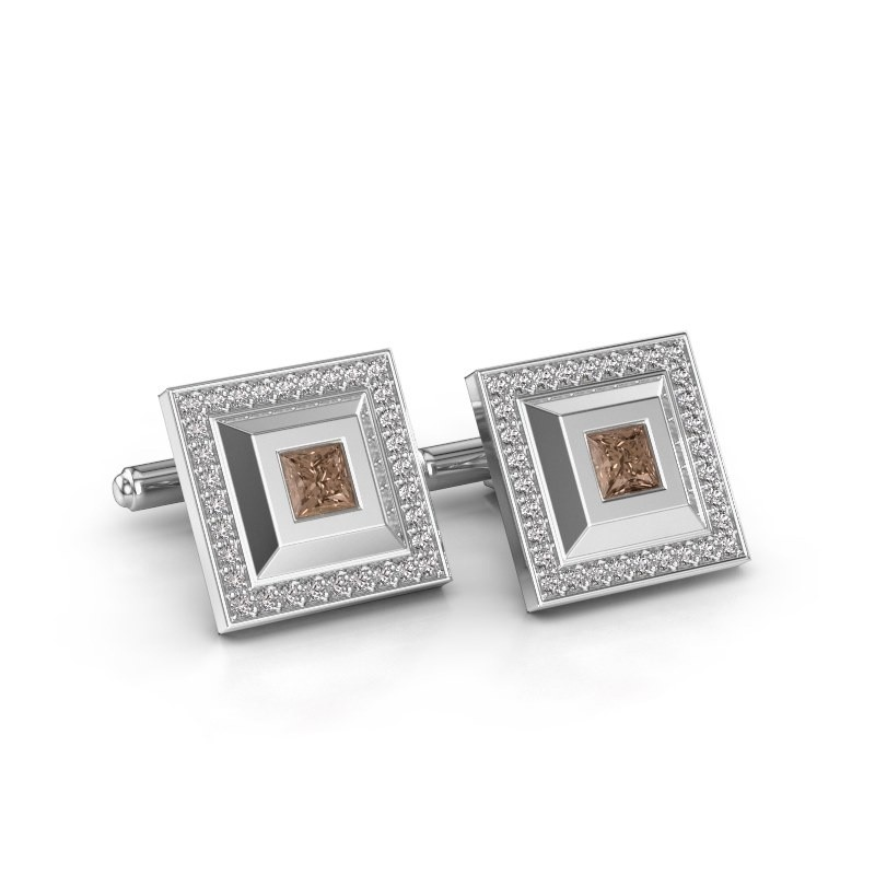 Manchetknopen Joris 925 zilver bruine diamant 1.46 crt