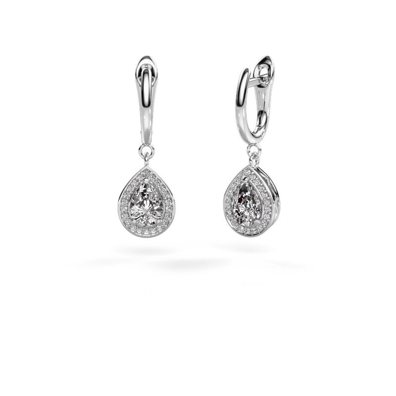 Drop earrings Ginger 1 950 platinum zirconia 7x5 mm