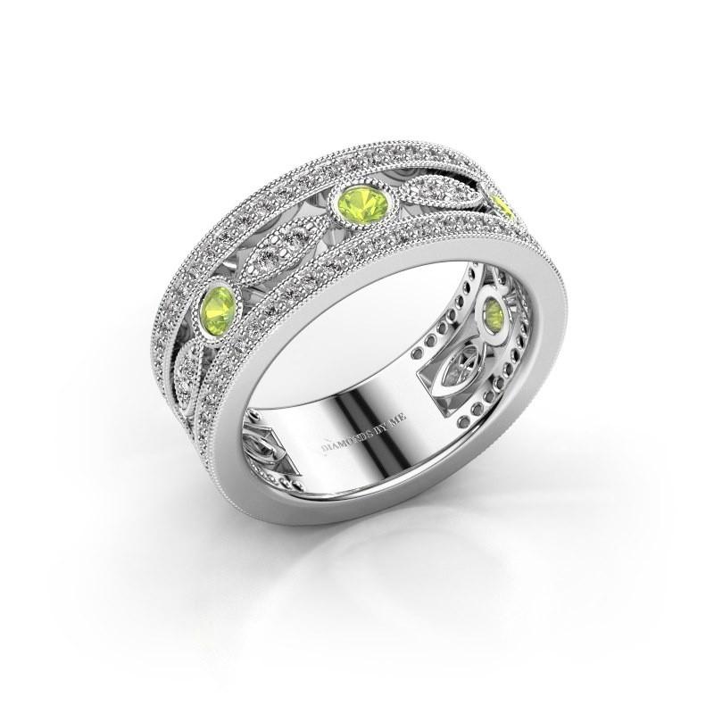 Ring Jessica 585 witgoud peridoot 2.5 mm