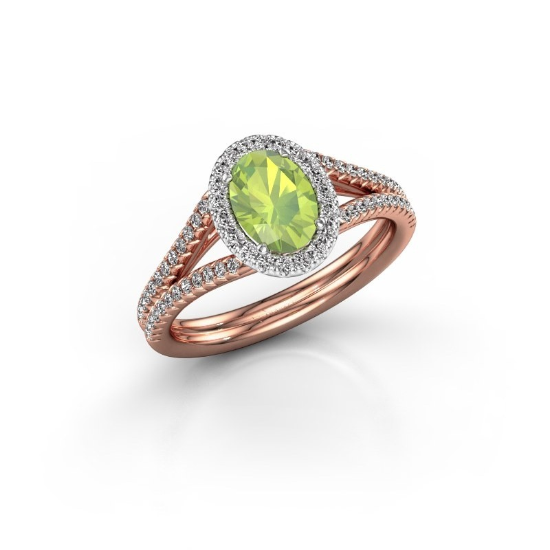 Engagement ring Rachele 2 585 rose gold peridot 7x5 mm
