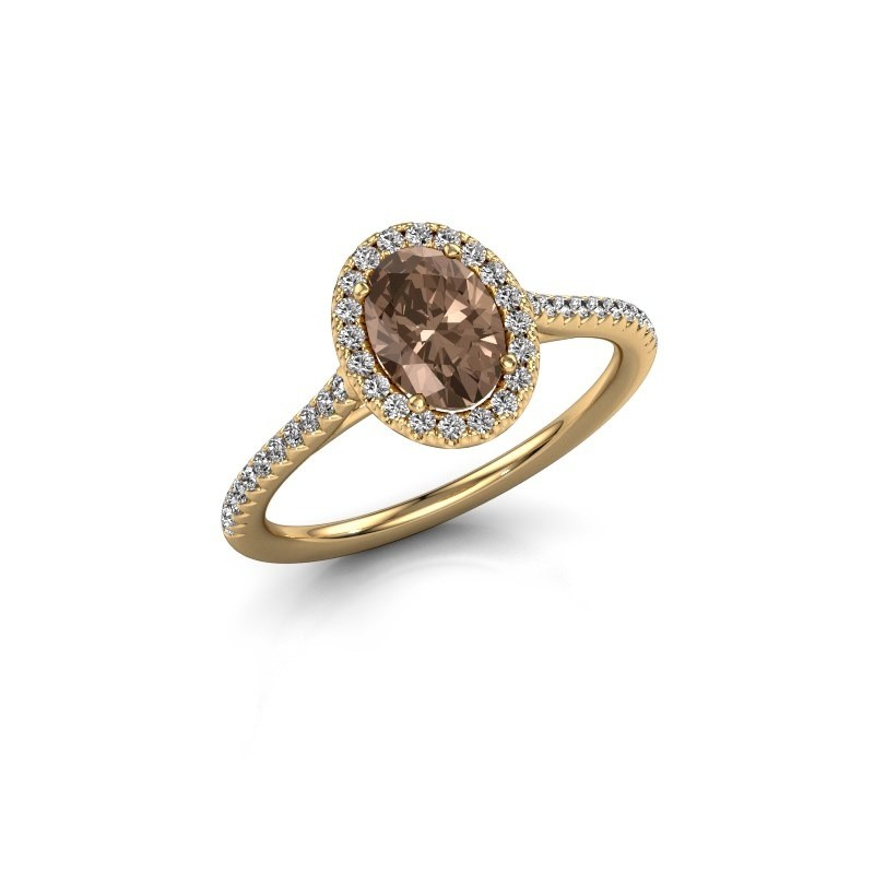 Engagement ring Seline 2 375 gold brown diamond 1.081 crt