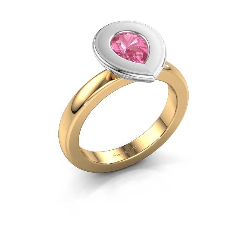 Stapelring Eloise Pear 585 goud roze saffier 7x5 mm