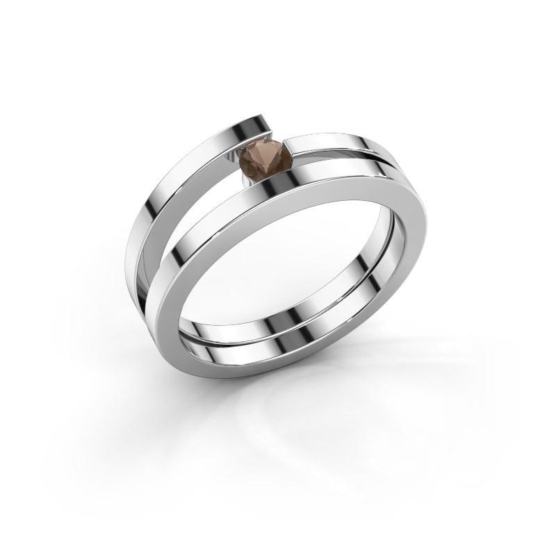 Ring Sandy 585 witgoud rookkwarts 3.4 mm