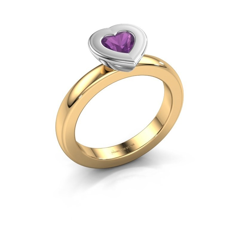 Stapelring Eloise Heart 585 goud amethist 5 mm