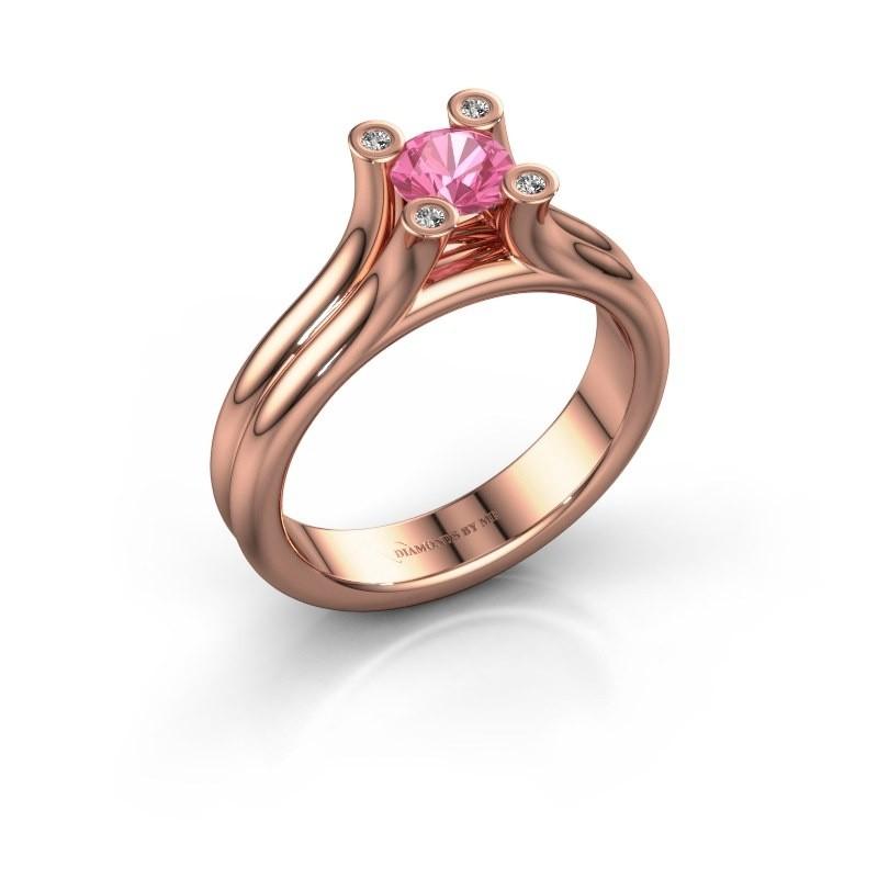 Verlobungsring Stefanie 1 375 Roségold Pink Saphir 5 mm