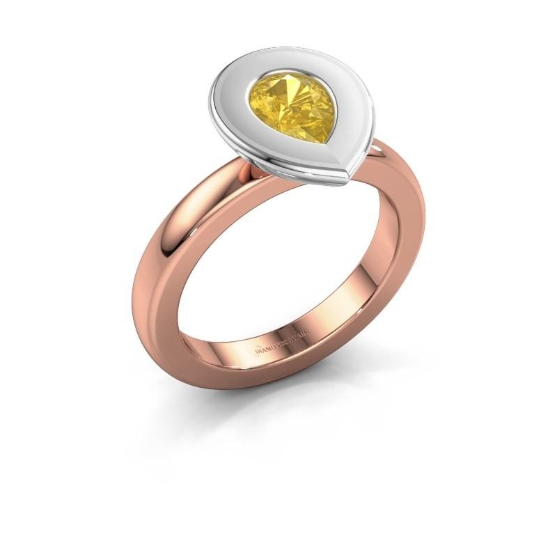 Stapelring Eloise Pear 585 rosé goud gele saffier 7x5 mm