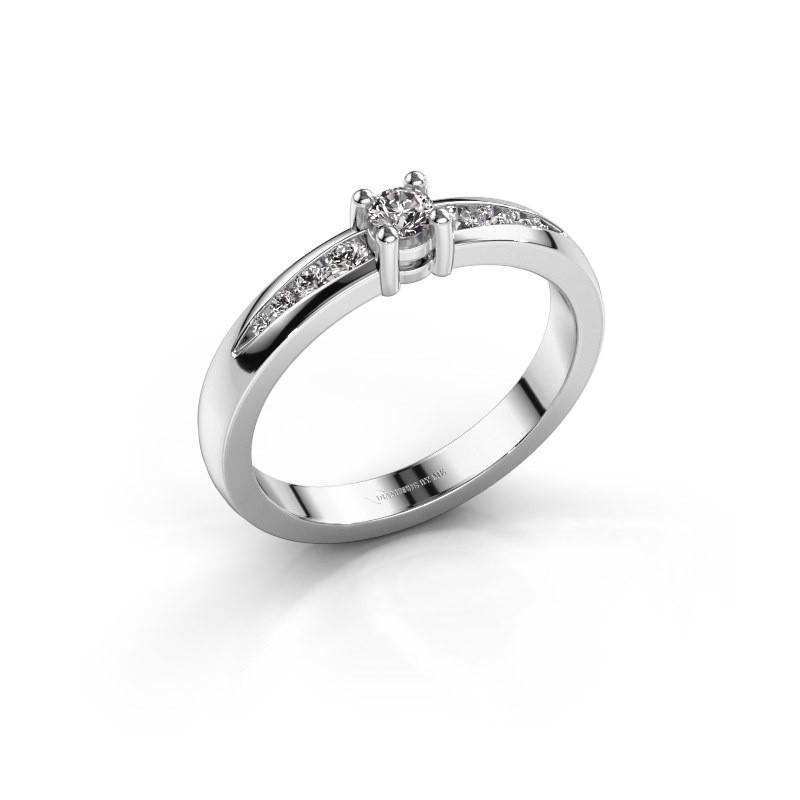 Bague de fiançailles Zohra 585 or blanc diamant synthétique 0.237 crt