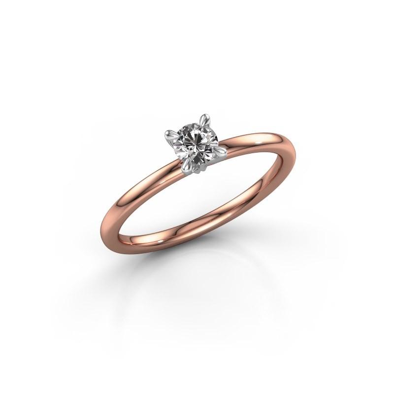 Verlobungsring Crystal RND 1 585 Roségold Diamant 0.25 crt