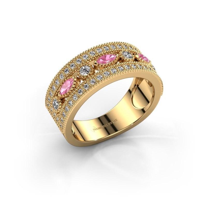 Ring Henna 375 goud roze saffier 4x2 mm