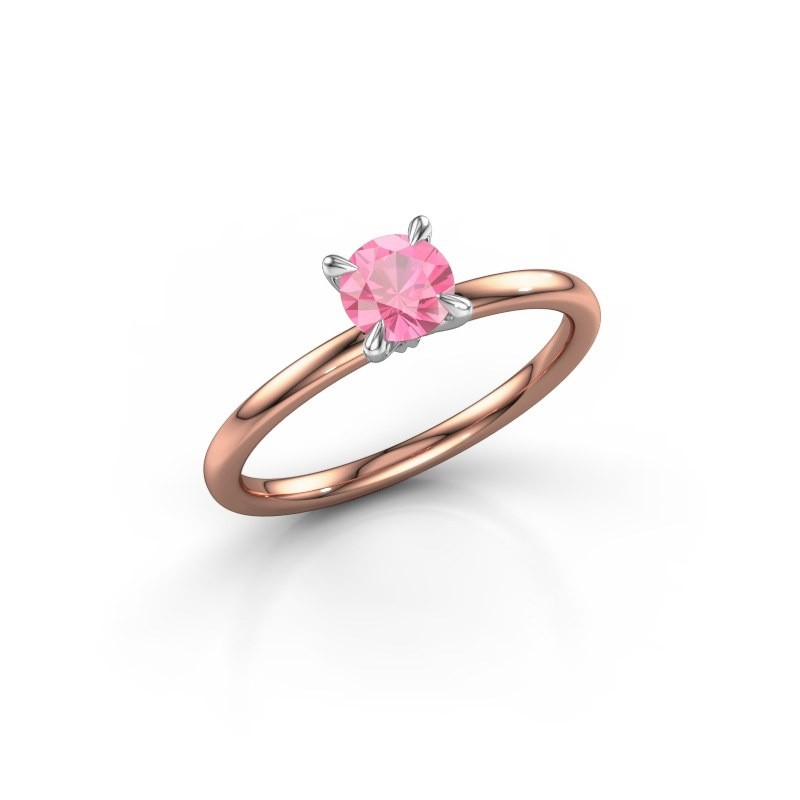 Verlovingsring Crystal RND 1 585 rosé goud roze saffier 5 mm