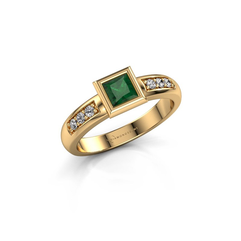 Steckring Lieke Square 585 Gold Smaragd 4 mm