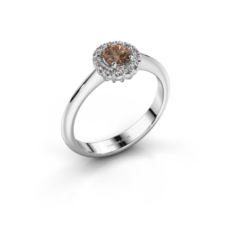 Verlovingsring Anca 585 witgoud bruine diamant 0.30 crt