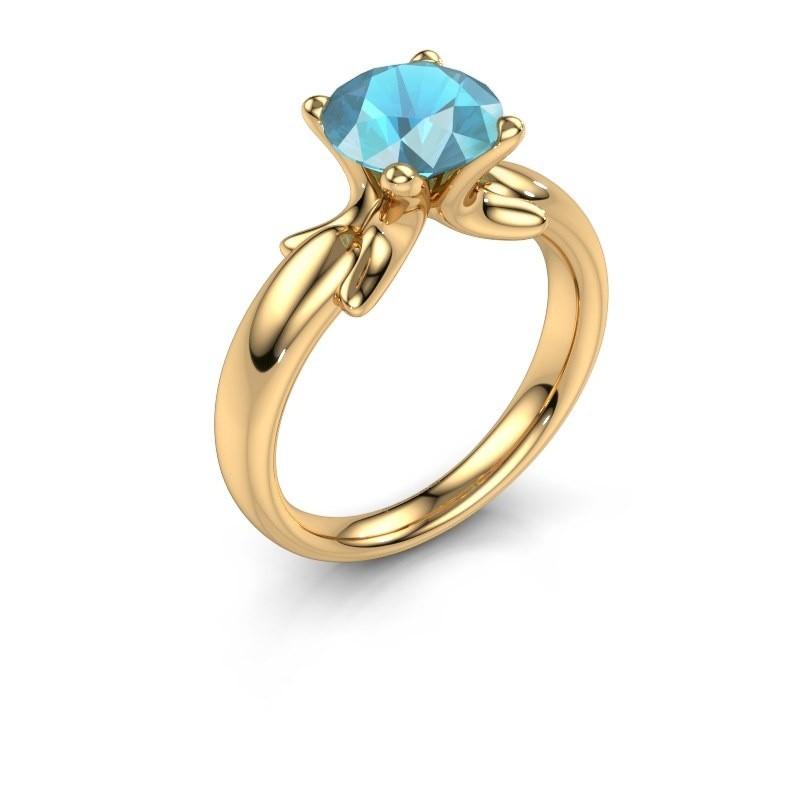 Ring Jodie 585 goud blauw topaas 8 mm