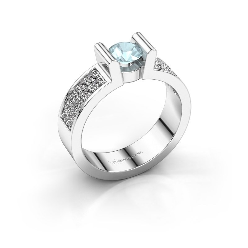 Verlovingsring Sofie 3 925 zilver aquamarijn 5 mm