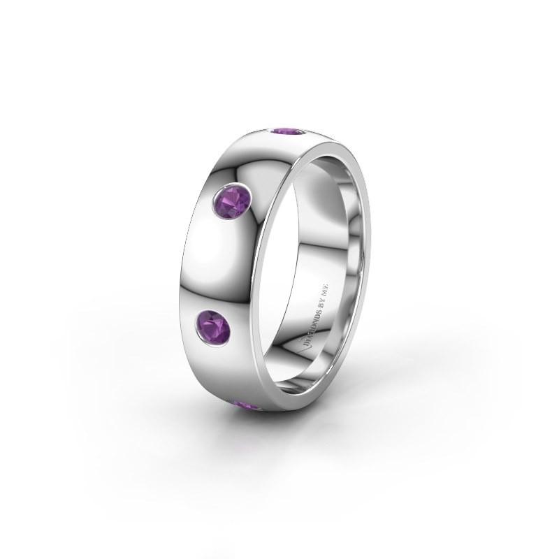 Wedding ring WH0105L26BP 925 silver amethyst ±6x2 mm