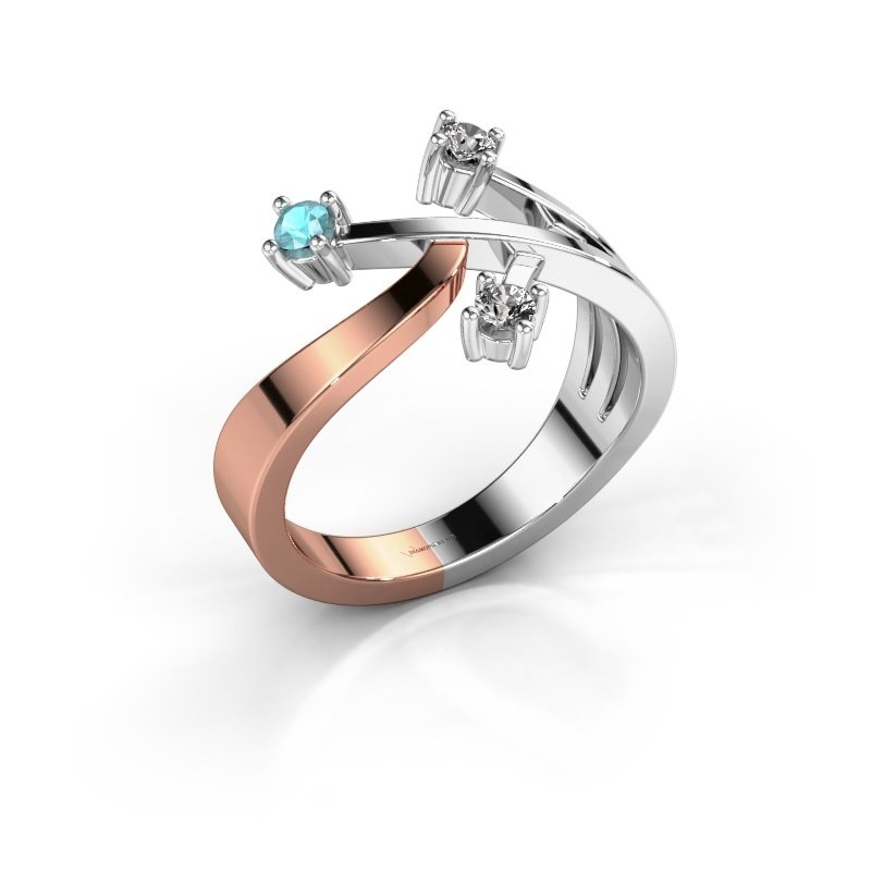Ring Lillian 585 rosé goud blauw topaas 2.5 mm