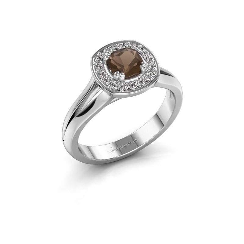 Ring Carolina 1 950 platina rookkwarts 5 mm