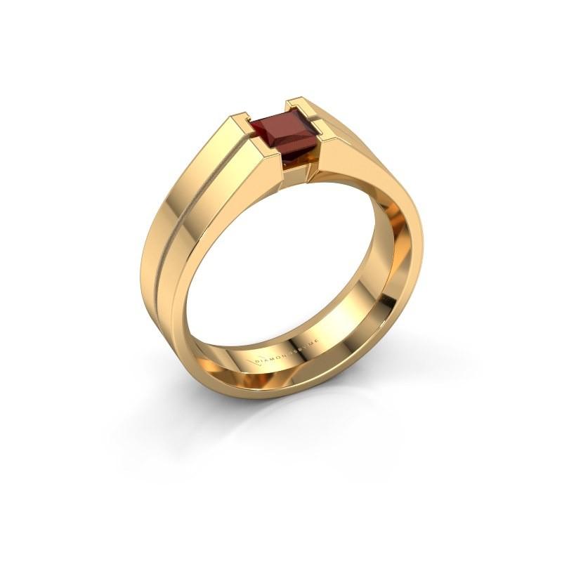 Heren ring Stefan 585 goud granaat 4.5 mm