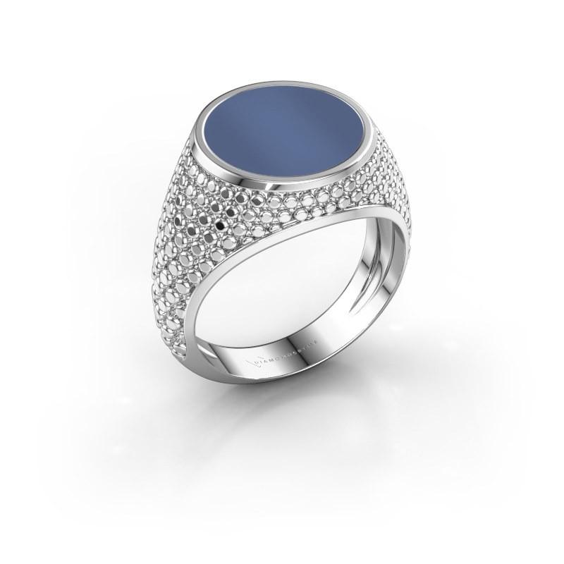 Zegelring Zachary 2 375 witgoud blauw lagensteen 12 mm