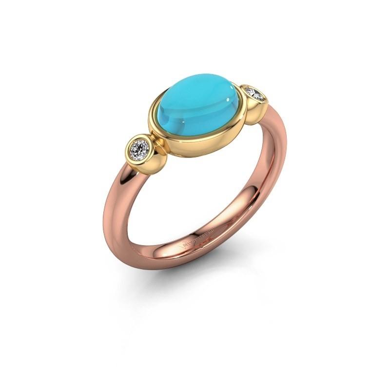 Ring Liane 585 rosé goud blauw topaas 8x6 mm