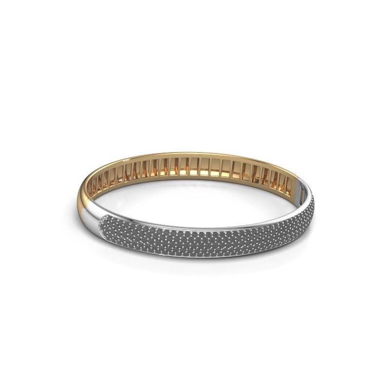 Slavenarmband Emely 8mm 585 goud zwarte diamant 3.643 crt