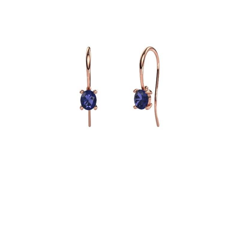 Drop earrings Cleo 375 rose gold sapphire 6x4 mm