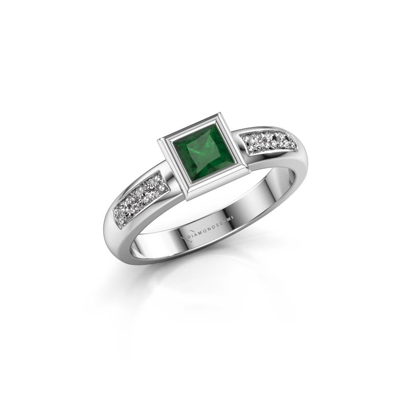 Stacking ring Lieke Square 925 silver emerald 4 mm