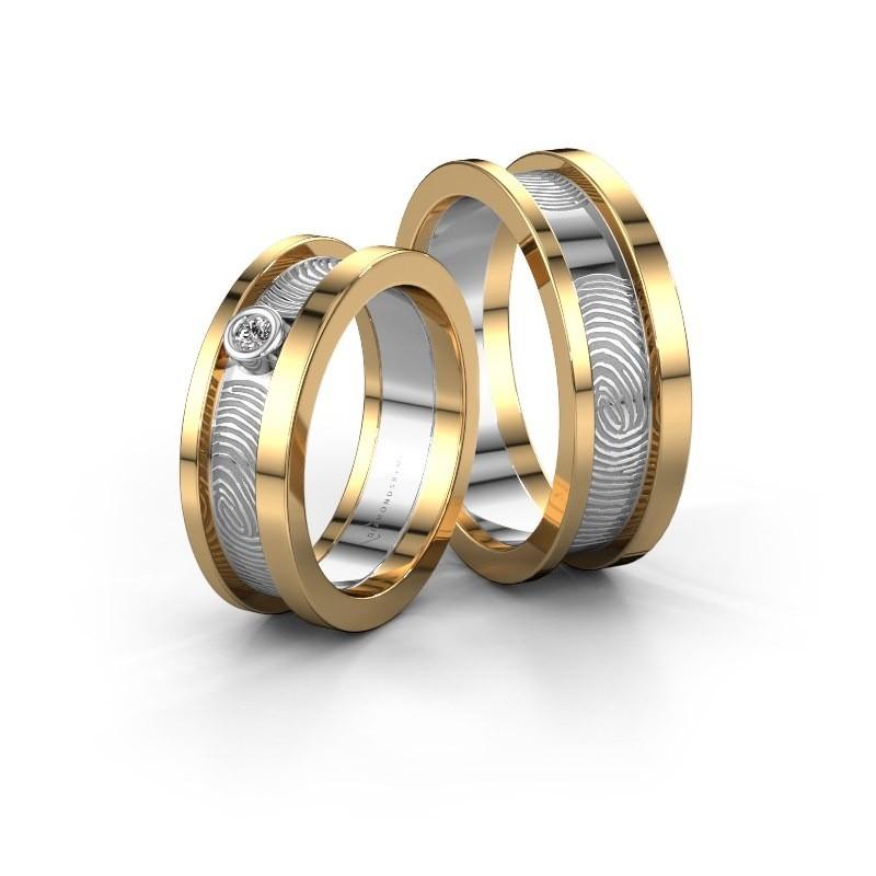 Trouwringen set WHR0427LM ±6x2 mm 14 karaat goud diamant 0.06 crt