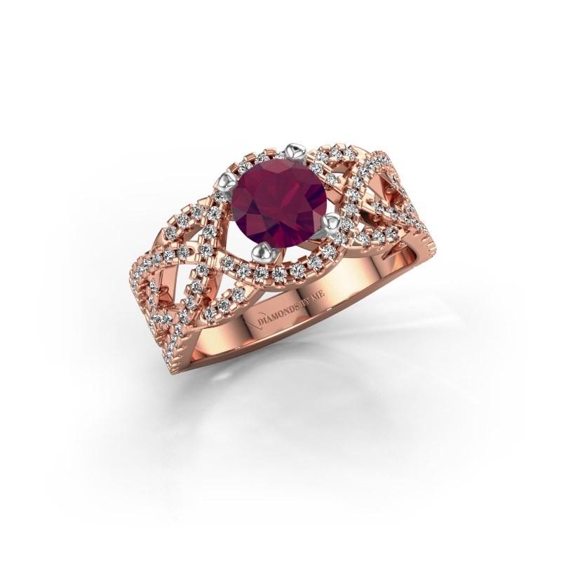 Verlovingsring Jeni 585 rosé goud rhodoliet 6.5 mm