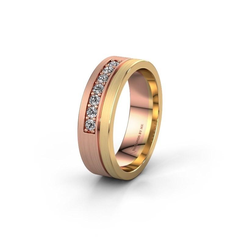 Trouwring WH0312L16AM 585 rosé goud zirkonia ±6x1.7 mm