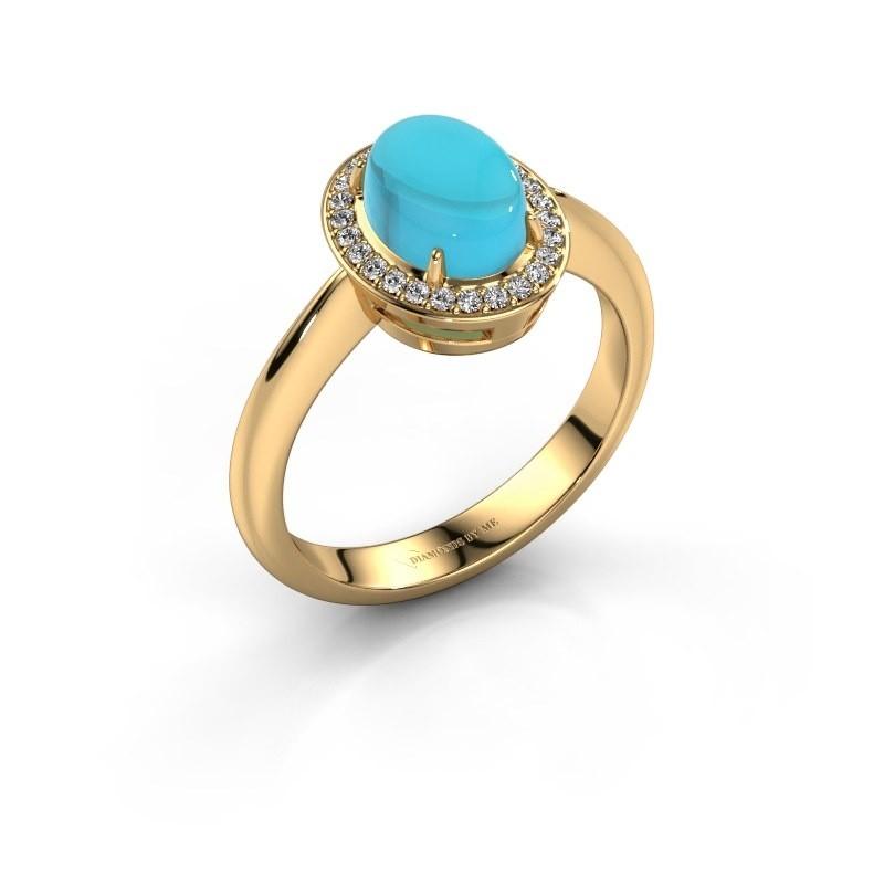 Ring Kristian 585 goud blauw topaas 8x6 mm