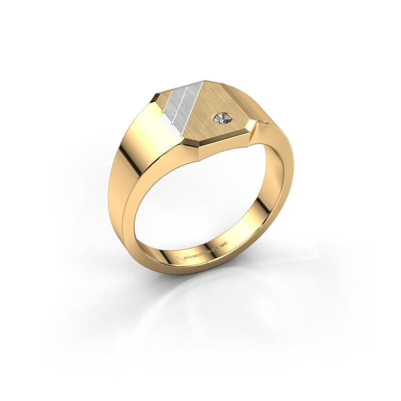 Zegelring Patrick 1 585 goud diamant 0.03 crt