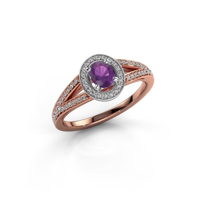Verlovings ring Angelita OVL 585 rosé goud amethist 6x4 mm