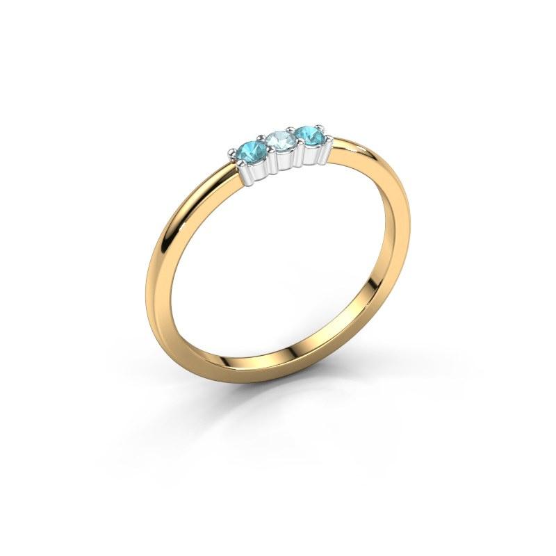 Verlovings ring Yasmin 3 585 goud aquamarijn 2 mm