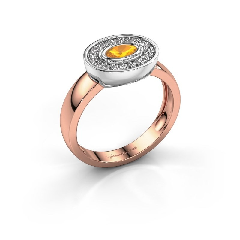 Ring Azra 585 rose gold citrin 5x3 mm