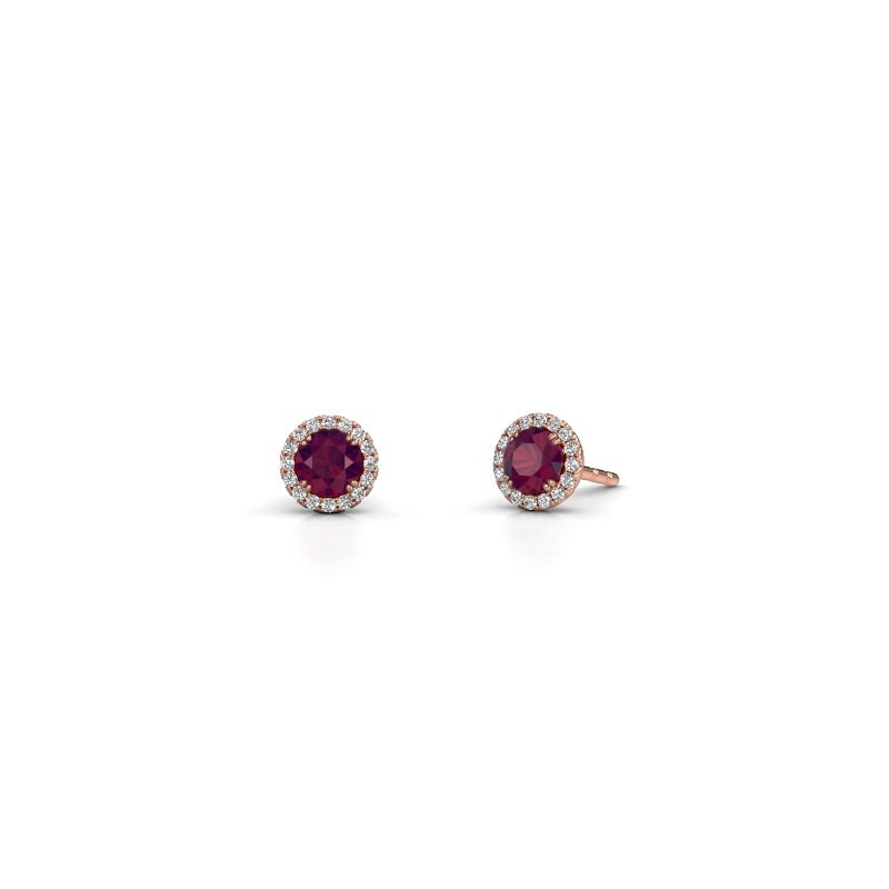 Earrings Seline rnd 375 rose gold rhodolite 4 mm