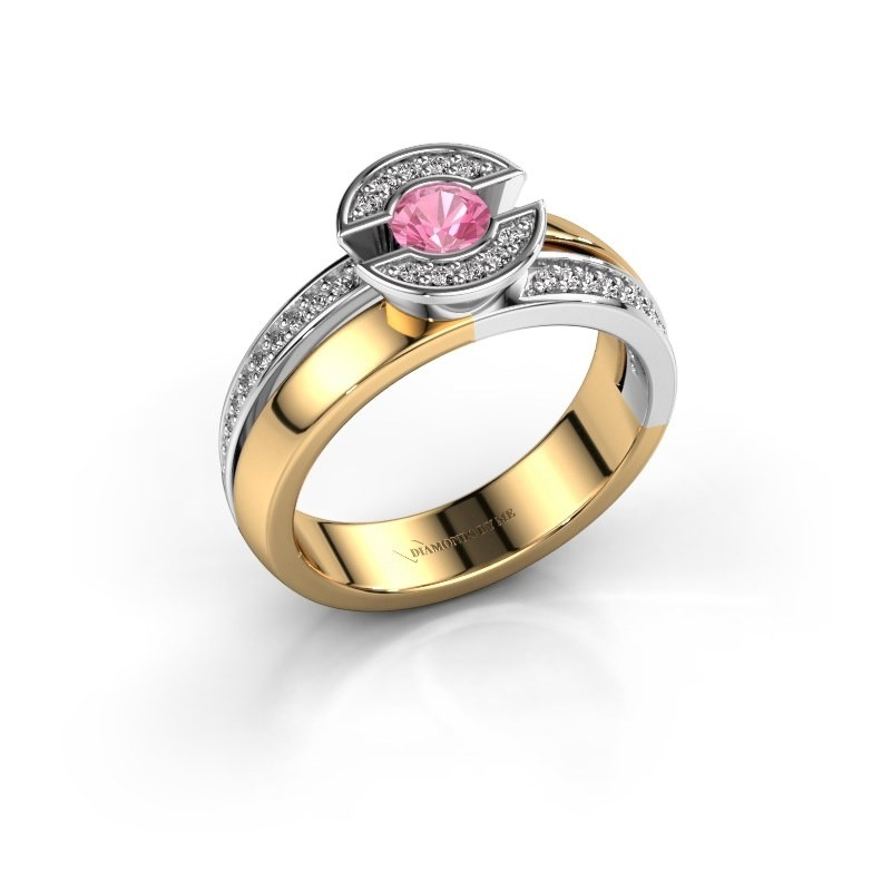 Ring Jeanet 2 585 goud roze saffier 4 mm