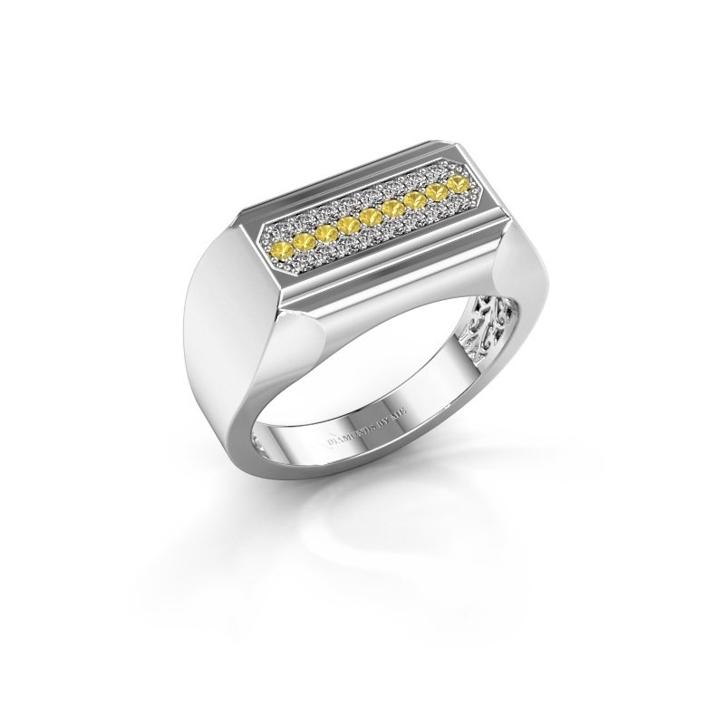 Heren ring Gerard 585 witgoud gele saffier 1.4 mm