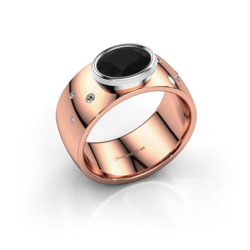 Ring Wilma 2 585 rosé goud zwarte diamant 1.380 crt