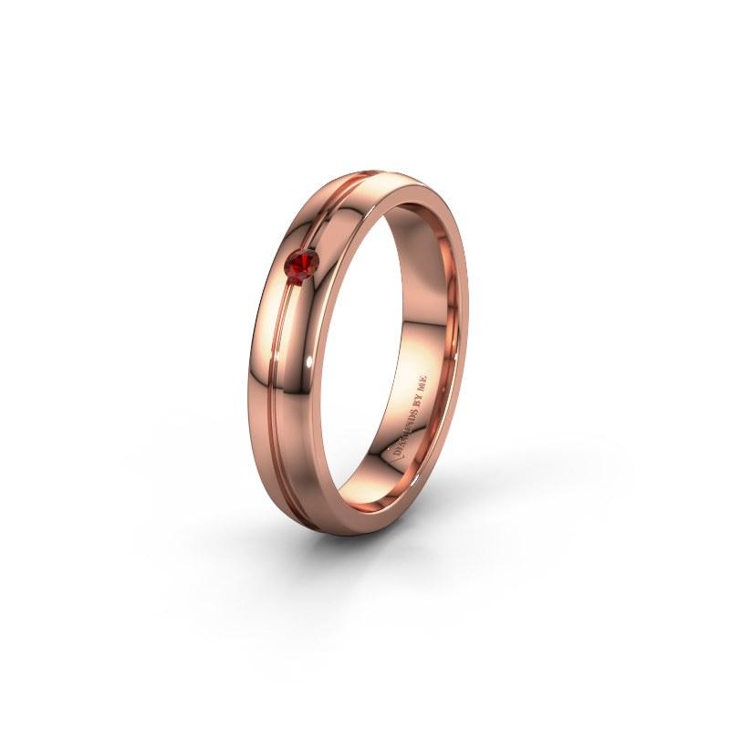Trouwring WH0424L24A 585 rosé goud granaat ±4x1.7 mm